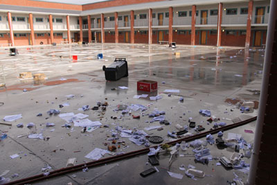 Storerooms were trashed, toilets and windows broken by pupils who went on the rampage at New Eisleben High in New Crossroads yesterday (subs: Wed) in a protest against their principal. Photo: Nombulelo Damba/WCN