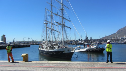 Accessible British tall ship Lord Nelson returns to Cape Town after a week at sea.