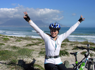 Isabelle Wolf-Gillespie celebrates having run and cycled 2500km from Durban to get to Cape Town, roughly a quarter of the journey she is undertaking as a Rhino Knights initiative to raise awareness on the plight of the rhino. Photo: Rhino Knights