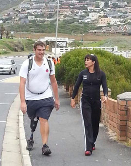 Amputee walks the peninsula to raise money for prosthesis