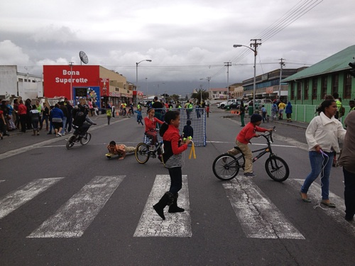 Despite Sunday's gloomy weather, residents of Grassy Park came out on a variety of wheels to enjoy the first Open Streets event on Victoria Road. Photo: WCN