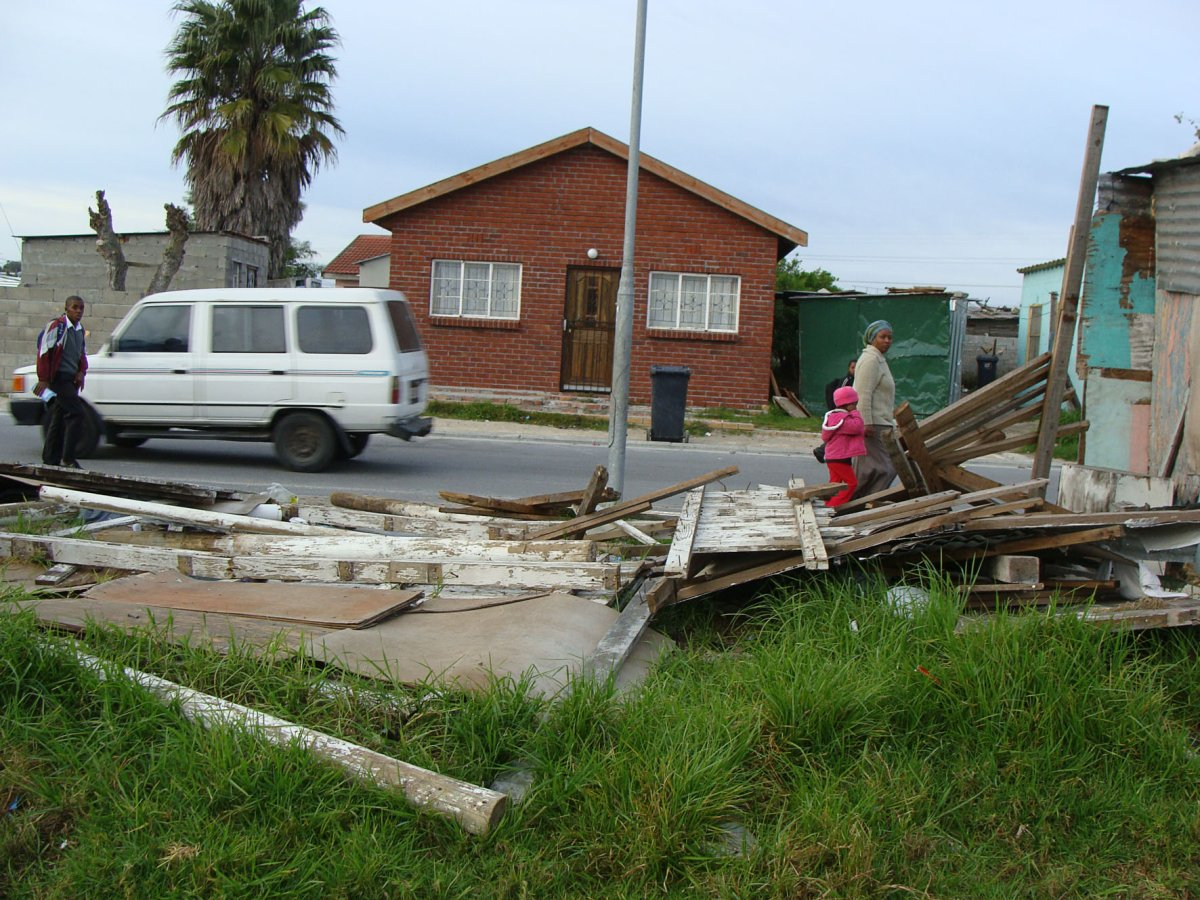 Flattened poles and corrugated iron sheeting is all that's left of a preacher's shack after residents chased him out of Philippi. Photo: Sandiso Phaliso/WCN
