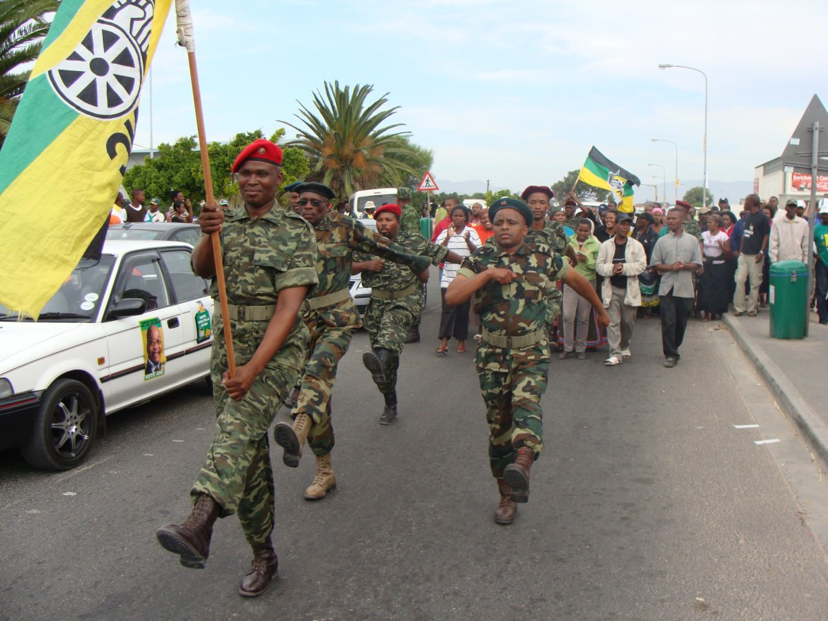 Members of the Mkhonto weSizwe Military Veterans Association (MKMVA) march the streets of Philippi in an event held to welcome COPE members to the ANC. Photo: Siyabonga Kalipa/WCN
