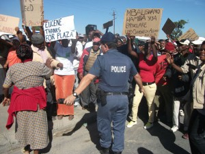 Protestors clash over job allocations at construction site