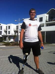 Amputee walks to raise funds for prostheses